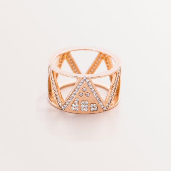 TRICROP RING ROSE GOLD ROUND DIAMOND SHA