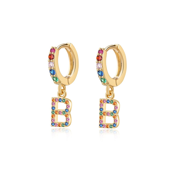 "Orecchini ""Iniziale Rainbow-Hoops"" ~ Argento Sterling 925"