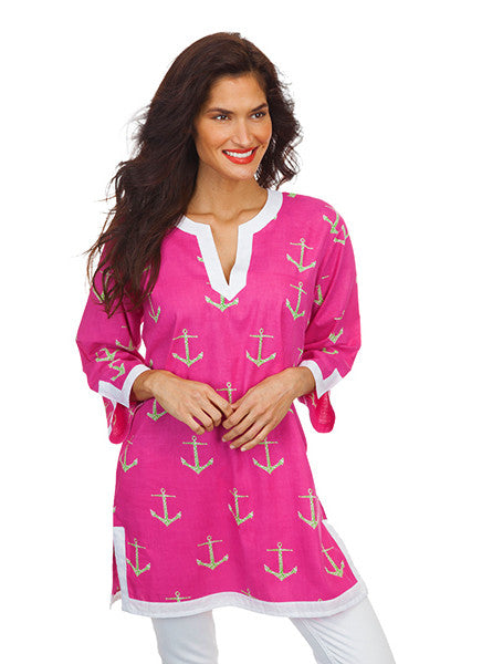 Pink Anchor Coverup Tunic