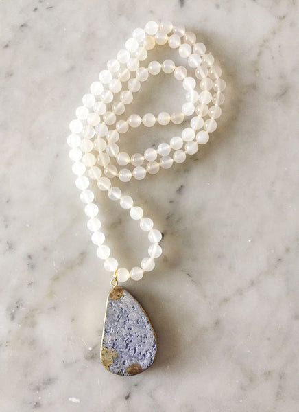 White Navy Drop Necklace