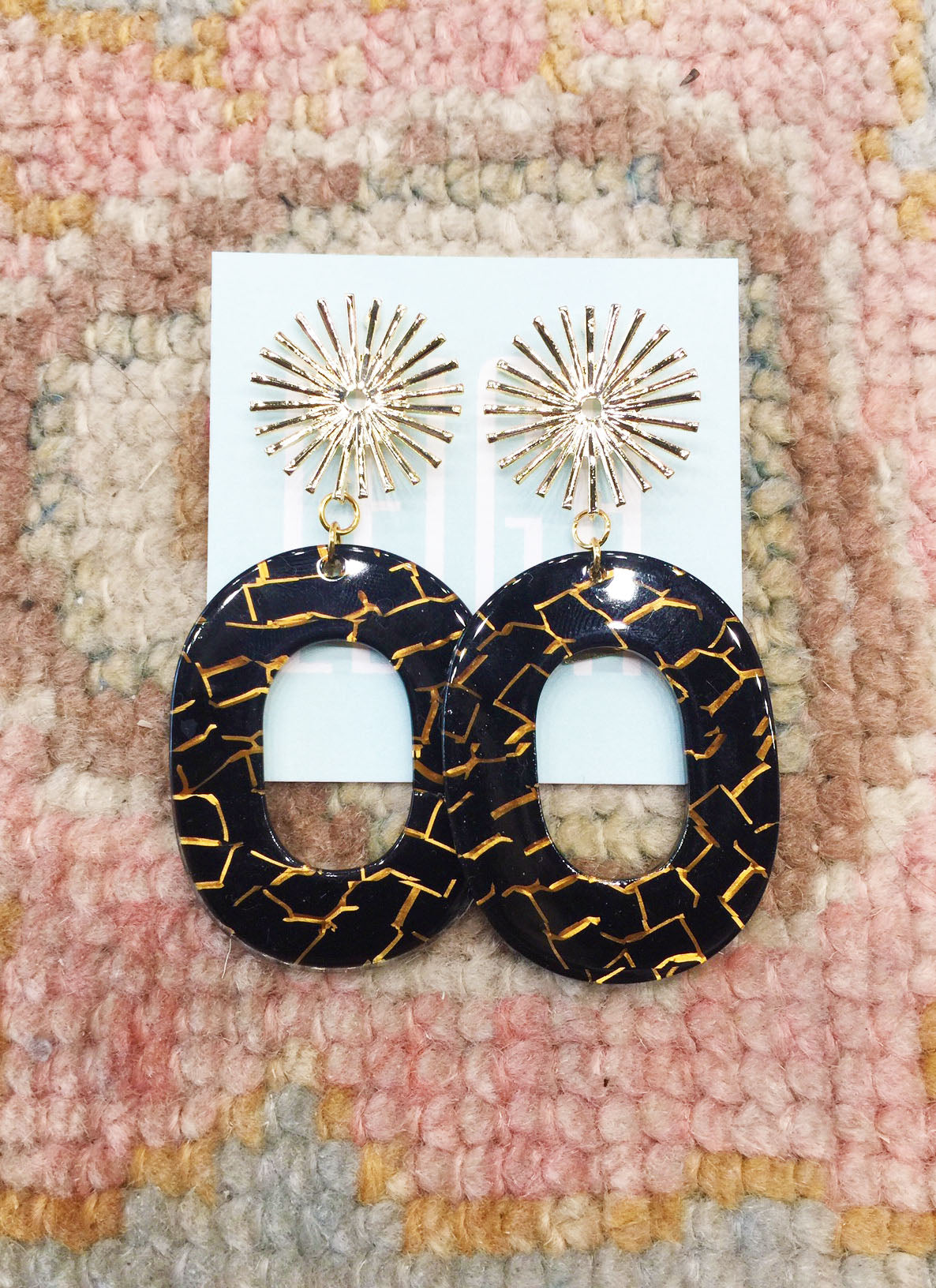 Burst Earrings in Black Crackle