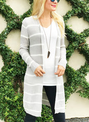 Katelyn Cardigan in Grey and White