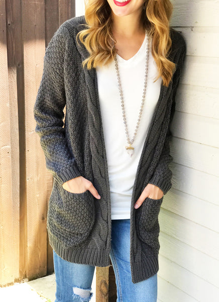 Bradley Cable Knit Cardigan in Charcoal