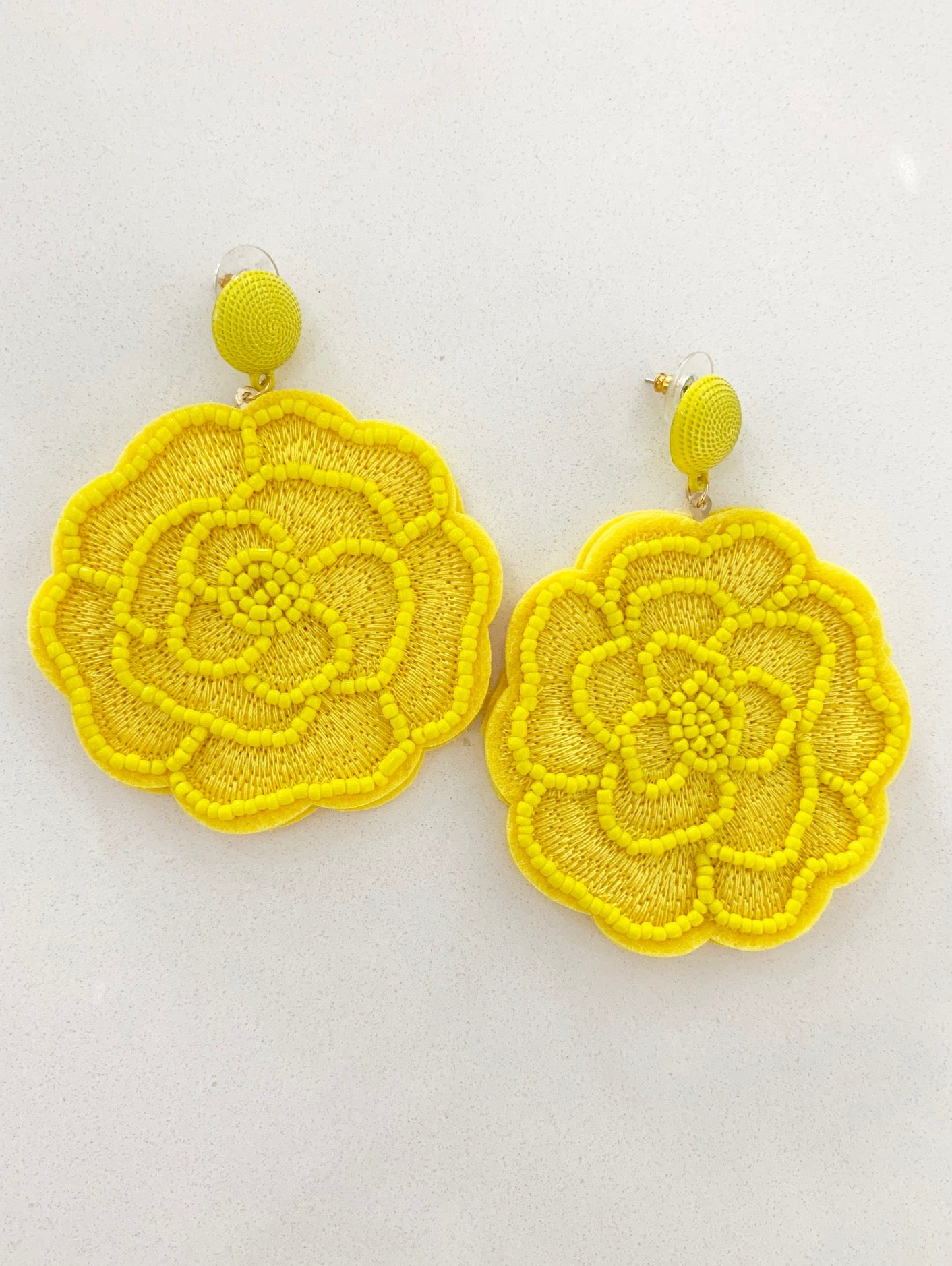 Rose Earrings in Yellow