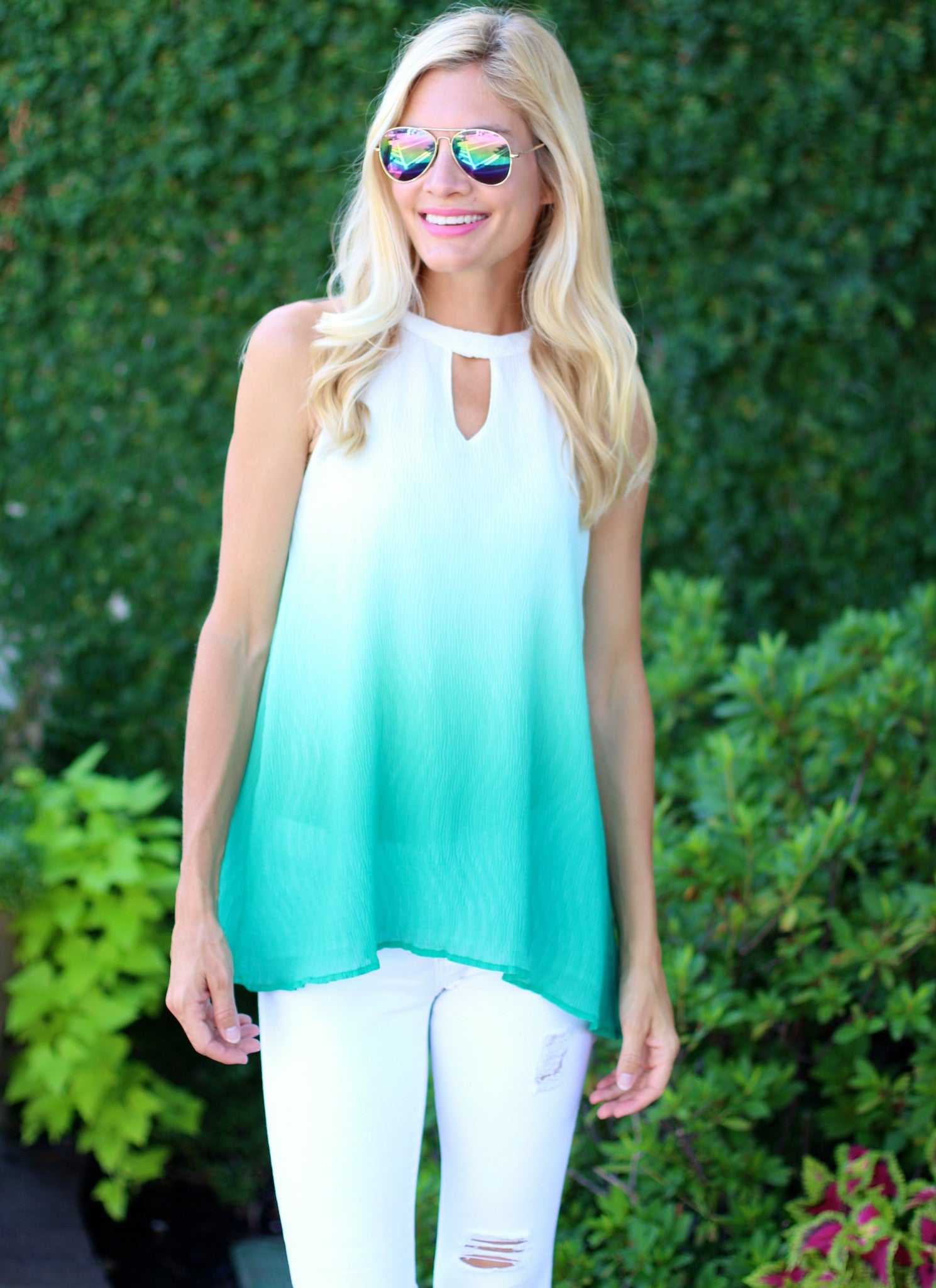 Hellen Top in Emerald