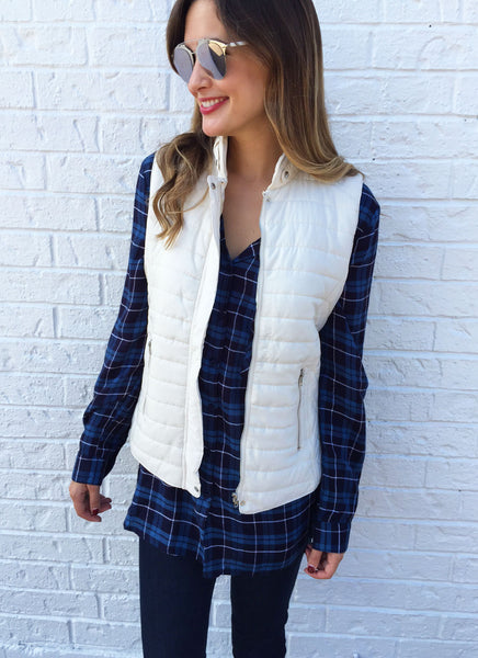 Erin Puffer Vest in Ivory