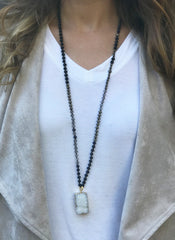 Beaded Necklace in Blacks With Druzy Drop
