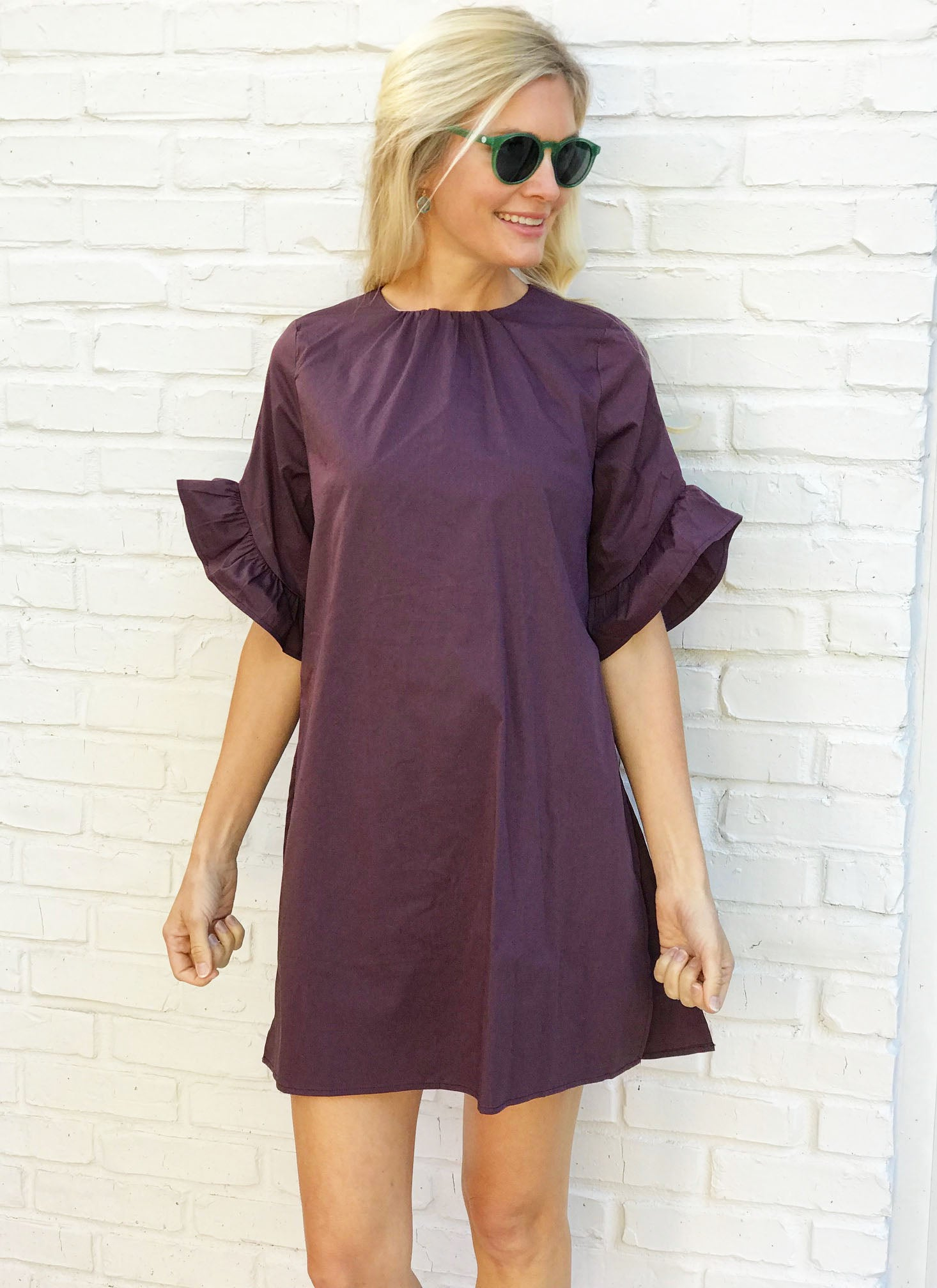 Kristen Romper in Plum