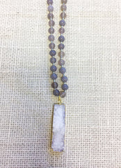 Grey Necklace With Druzy Drop