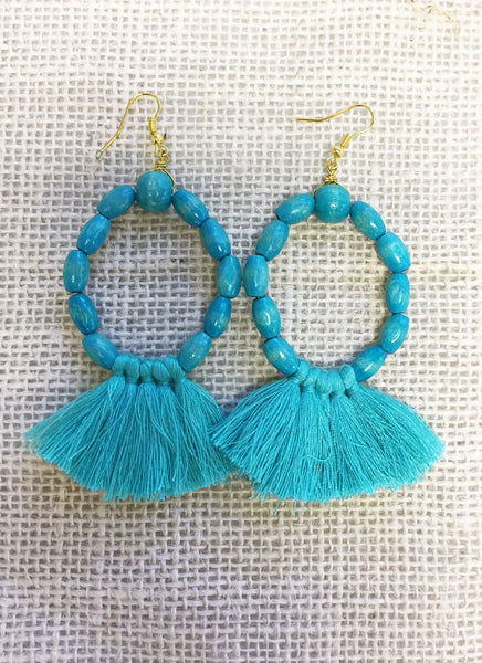 Turquoise Wood Bead Tassel Earrings