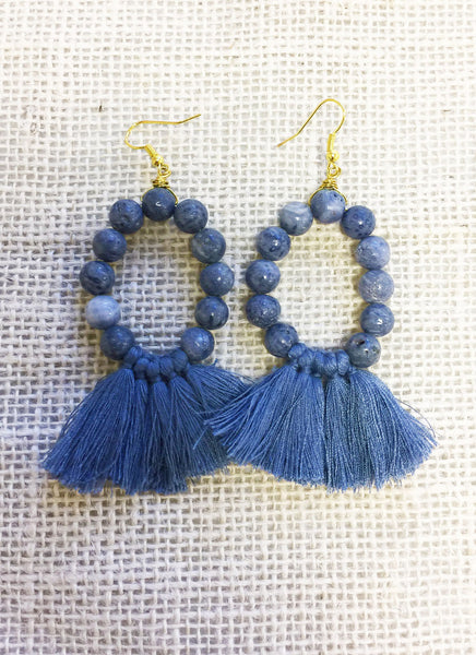 Blue Coral Beaded Tassel Earrings
