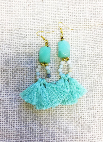 Celadon Beaded Tassel Earrings