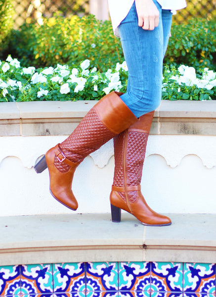 Everly Boots in Cognac