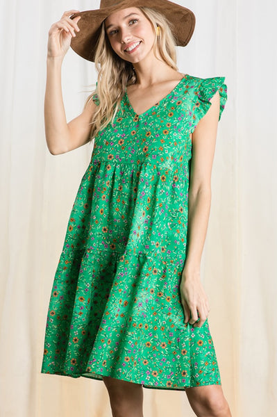 Jessie Dress in Green Floral (Ships Early March)