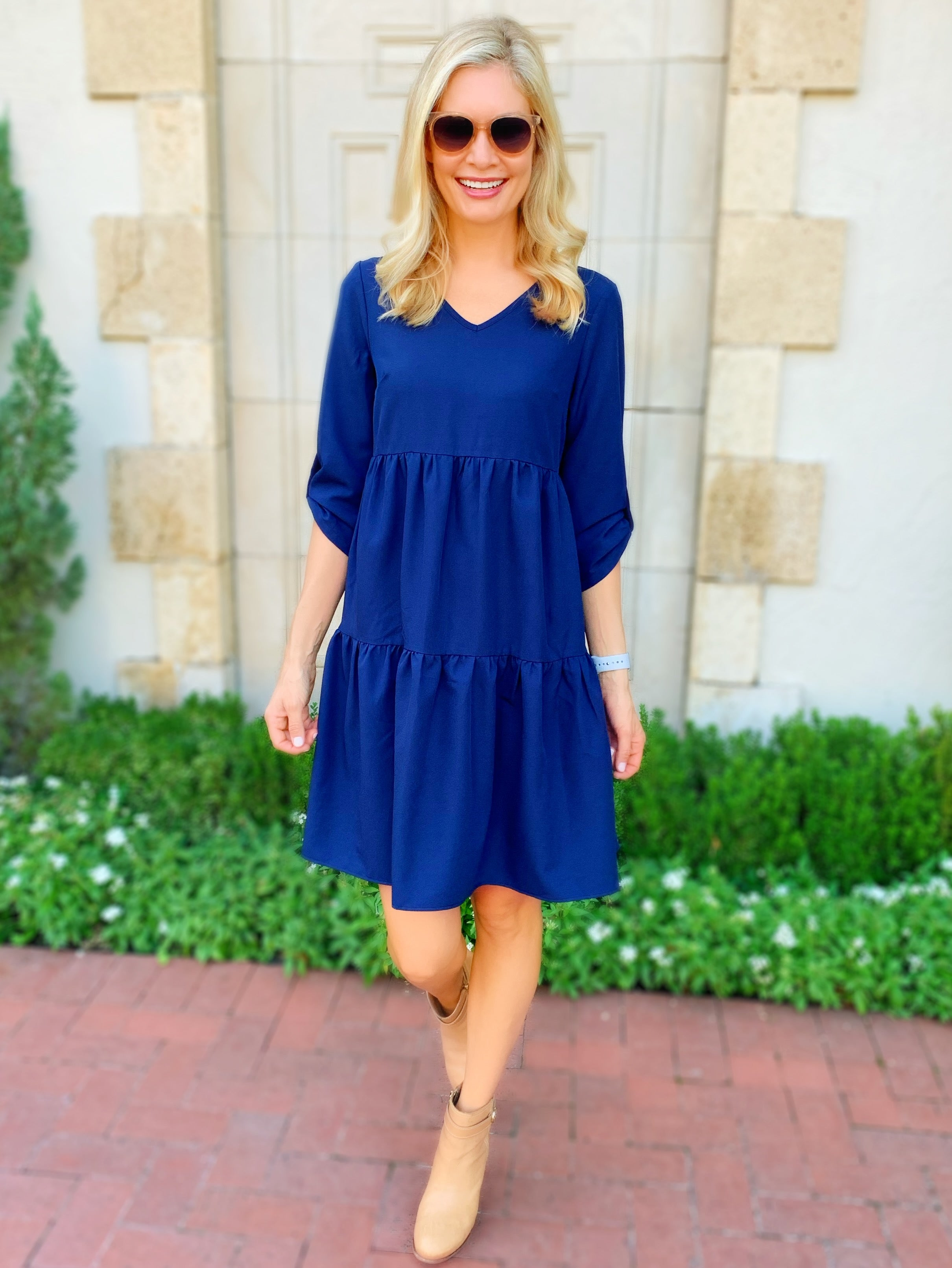Jessie Quarter Sleeve Dress in Navy