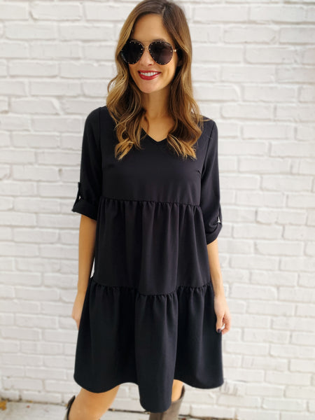 Jessie Quarter Sleeve Dress in Black