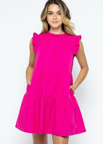Janie Dress in Hot Pink