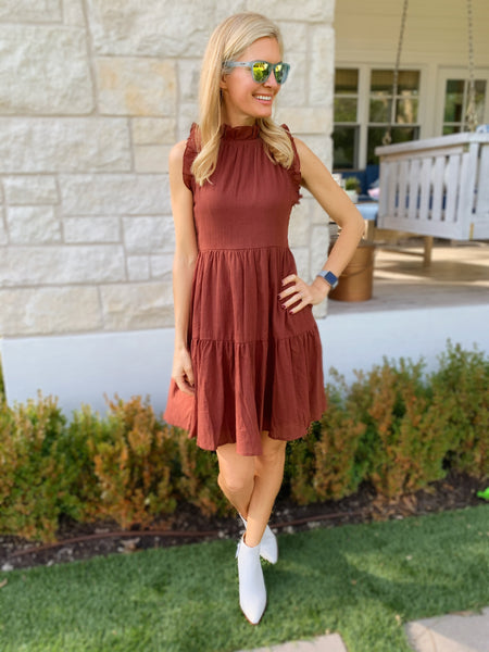 Christina Dress in Brick