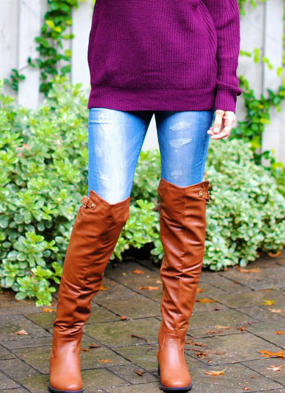 Reece Over the Knee Boots in Cognac