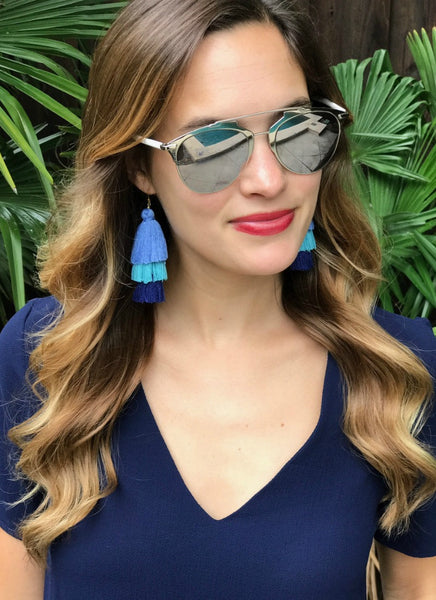 Kelvin Tiered Tassel Earrings in Navy Ombre