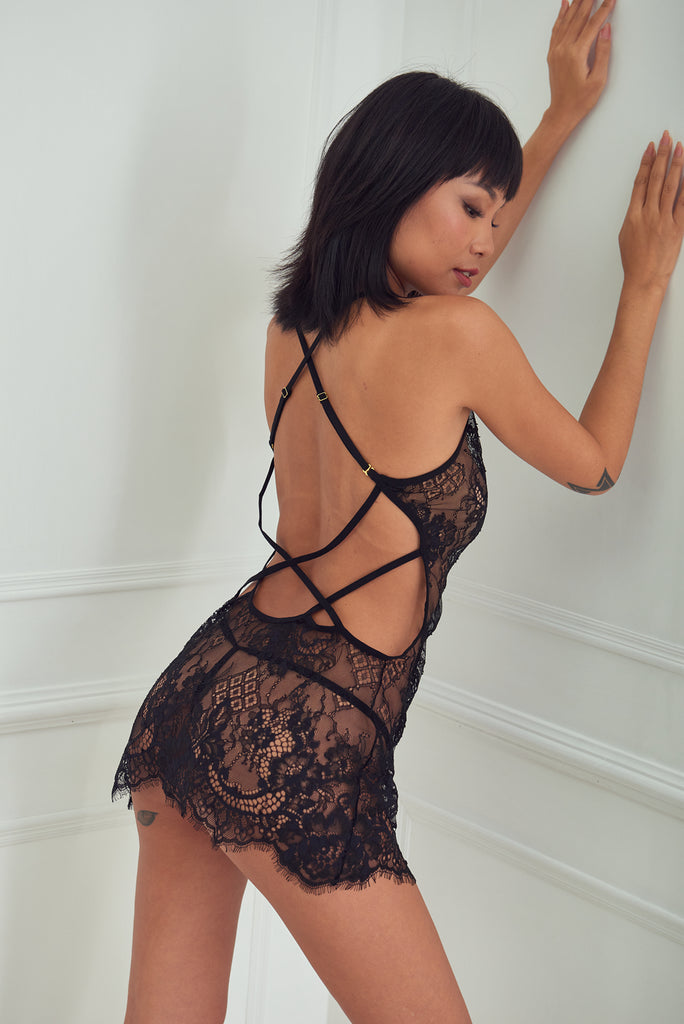 Secret - Crisscross Back Lace Babydoll Set