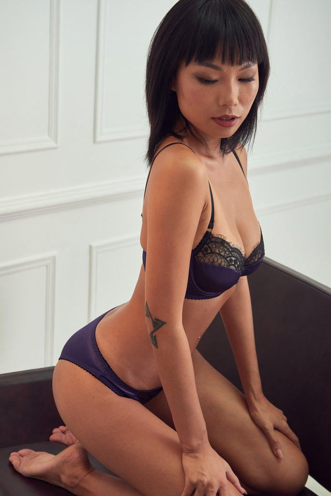 Lacy - Purple Satin Embroidered Underwire Bra Set