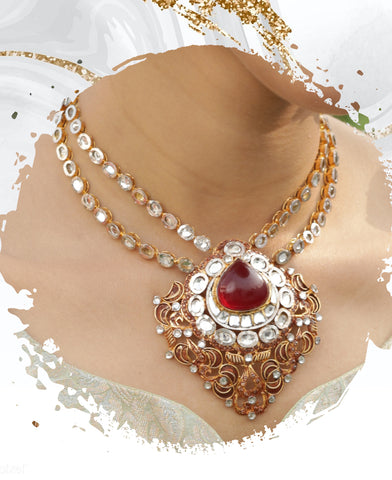 Traditional Bridal Ruby and Kundan Set