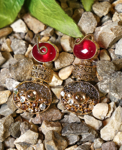 Ruby Katak Polki Earrings