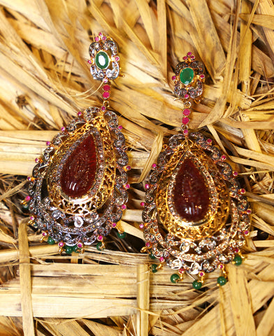 Carved Polki Earrings