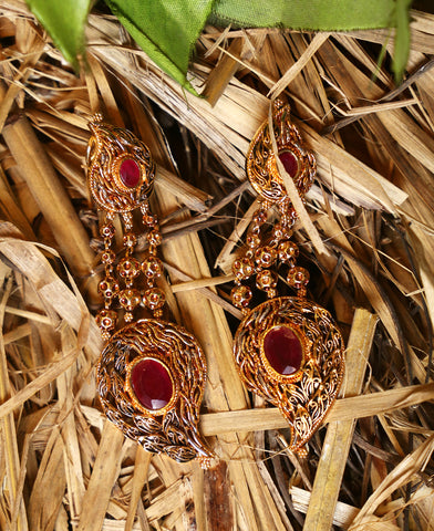 Ruby Paisley Chain Earrings