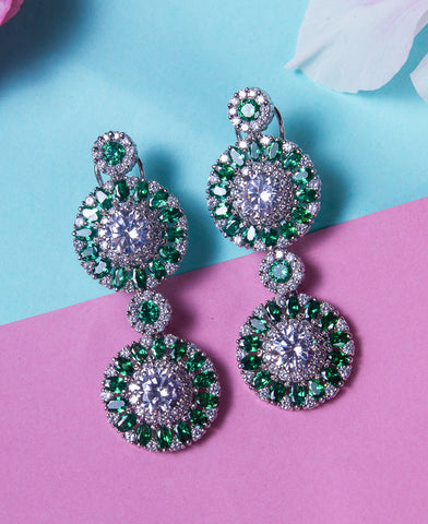 Emerald Colored Zircon Earrings