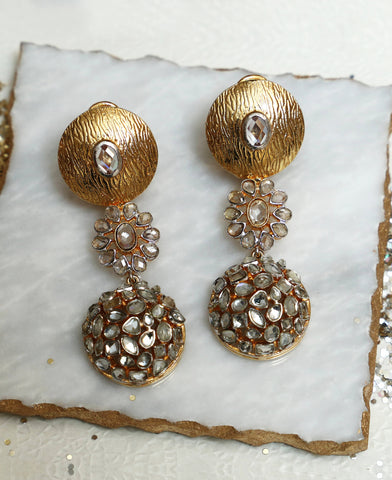 Kundan Polki Coin Earrings