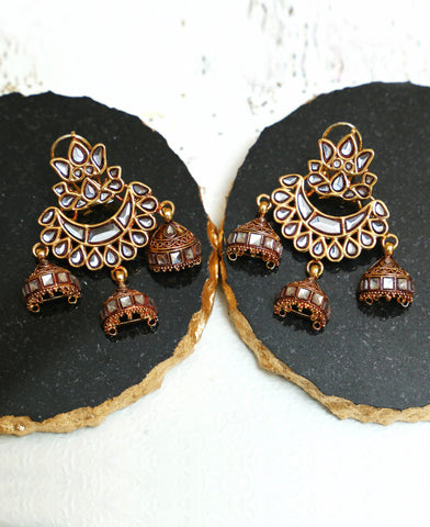 tri Jhumka Earrings