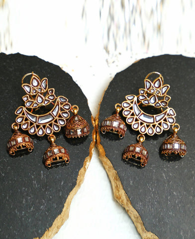 Kundan tri Jhumka Earrings