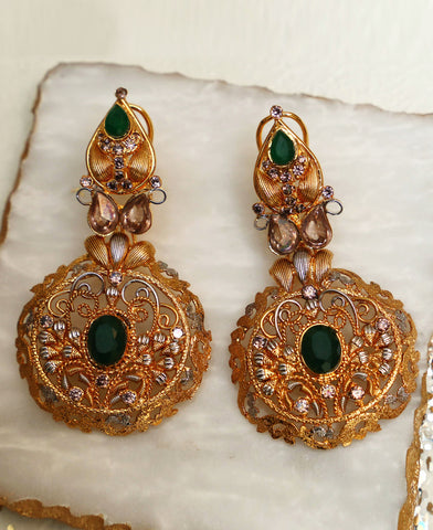 Green twisted wire earrings