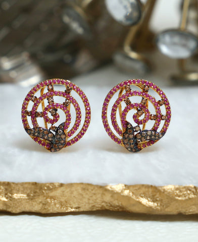 Ruby Coffee Studs