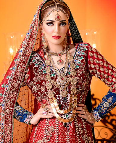 The Royal Tale - Two layered Classic Bridal Set in treated rubies and polki Art work