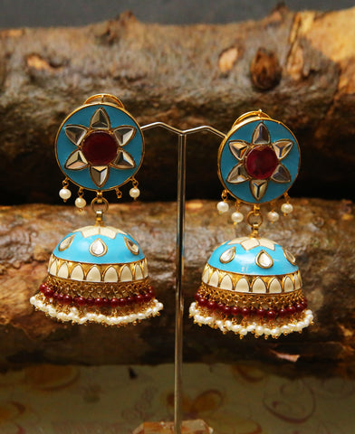 Pakistani Truck Art Jhumkas in Blue and White Meena