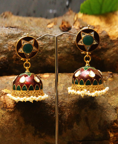 Pakistani Truck Art Jhumkas in Green and Red Meena