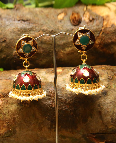Pakistani Jhumkas in Green and Red Meena