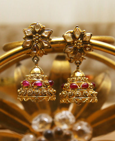 Champagne and Ruby Jhumkas
