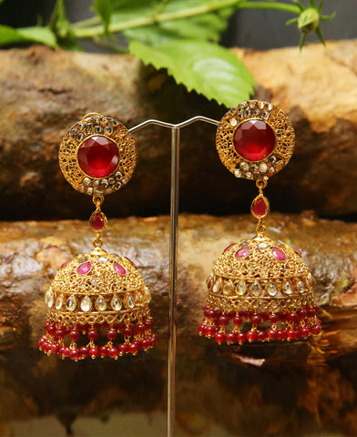 Traditional Handcrafred Kundan and Filigree Jhumka