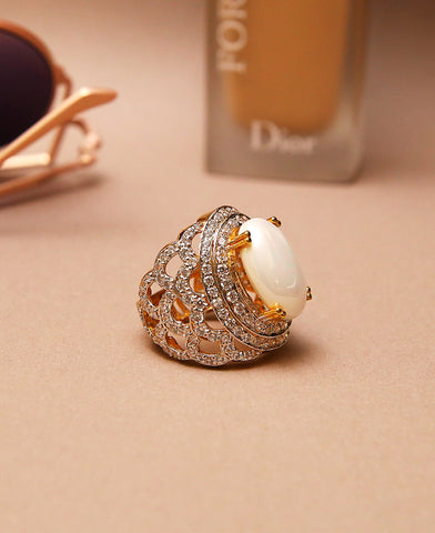 Pearl Centred Over Sized Ring