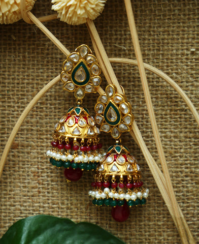 Contemporary Polki and Meenakari Jhumkas