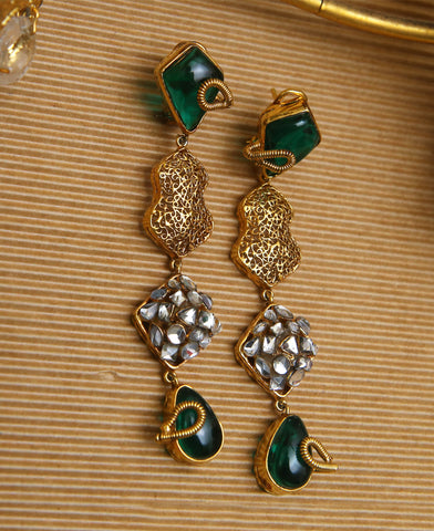 Green Kundan and Filigree Earring