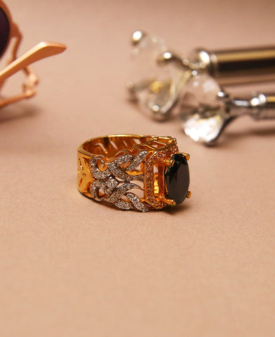 Black Zircon Centred Ring
