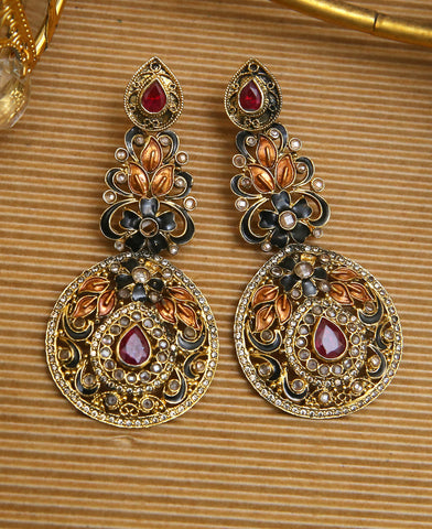 Ruby and Black Meena Earrings