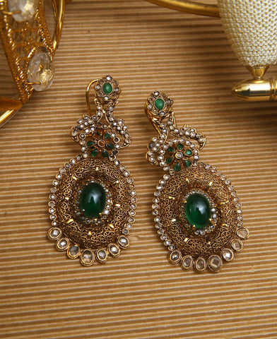 Green Katak Polki Earrings