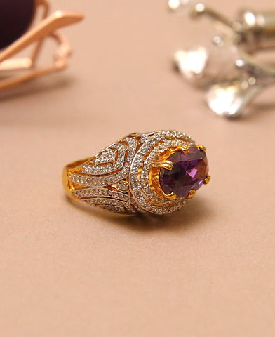 Purple Zircon Centred Ring