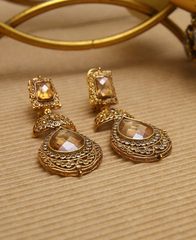 Champagne Intricate Polki Earrings
